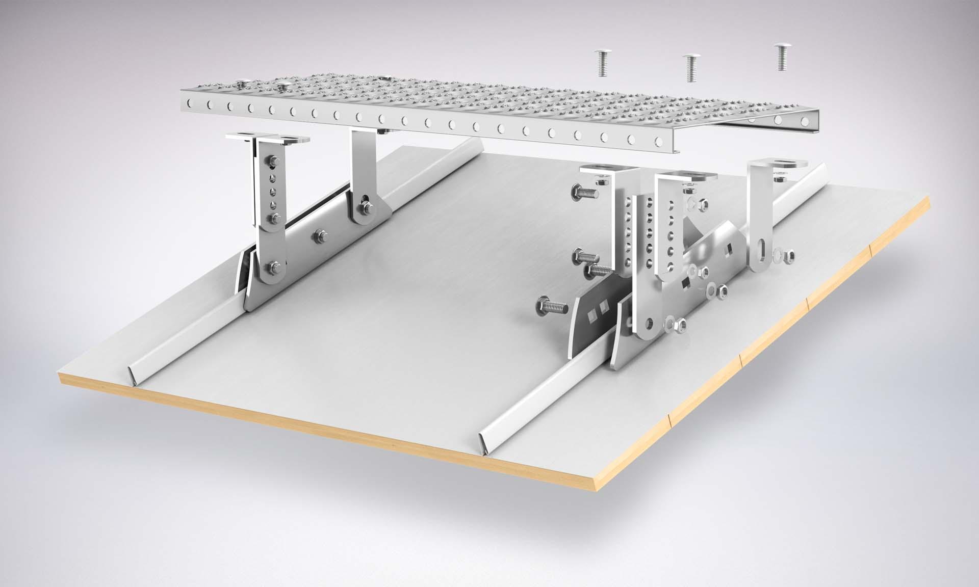 Montaż Zestawu Komunikacji dachowej na rąbek stojący aluminium