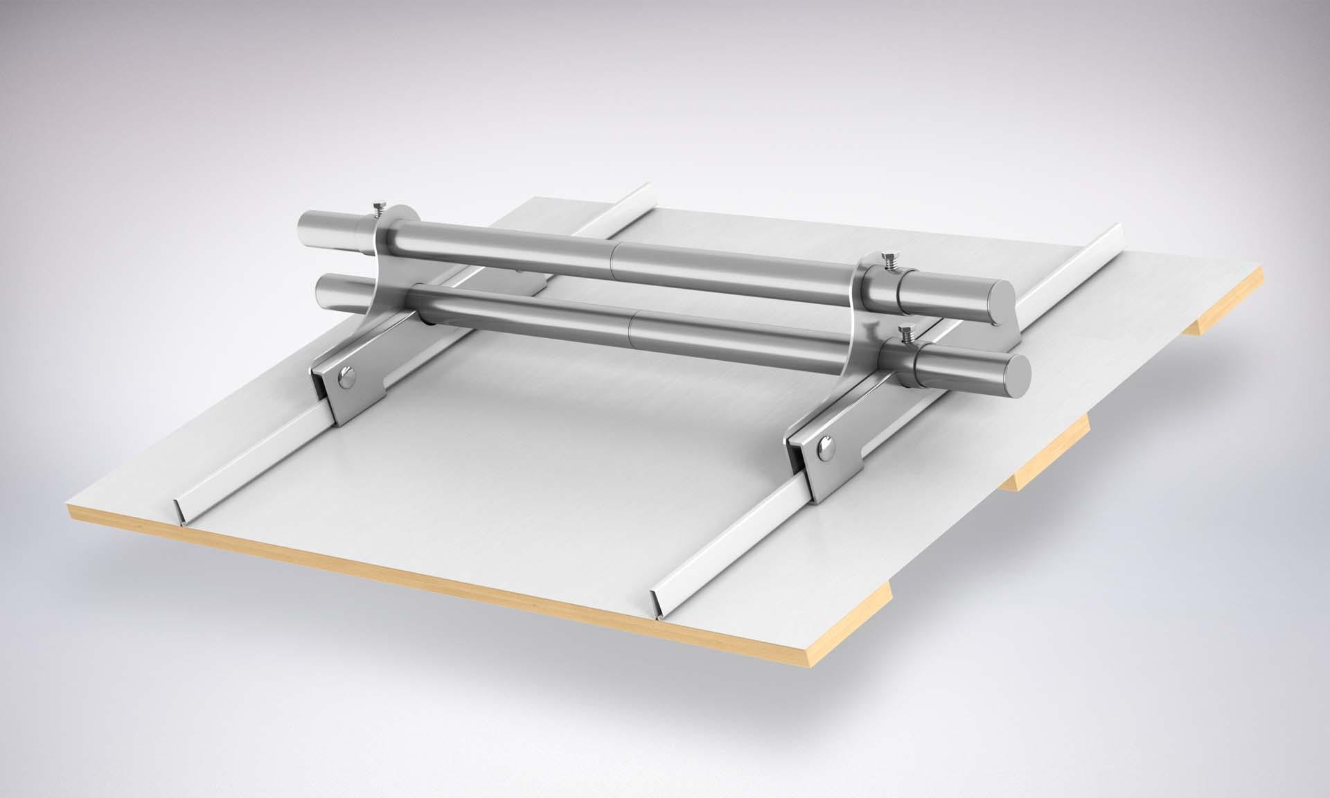 System przeciwśniegowy na rąbek stojący, panele dachowe
