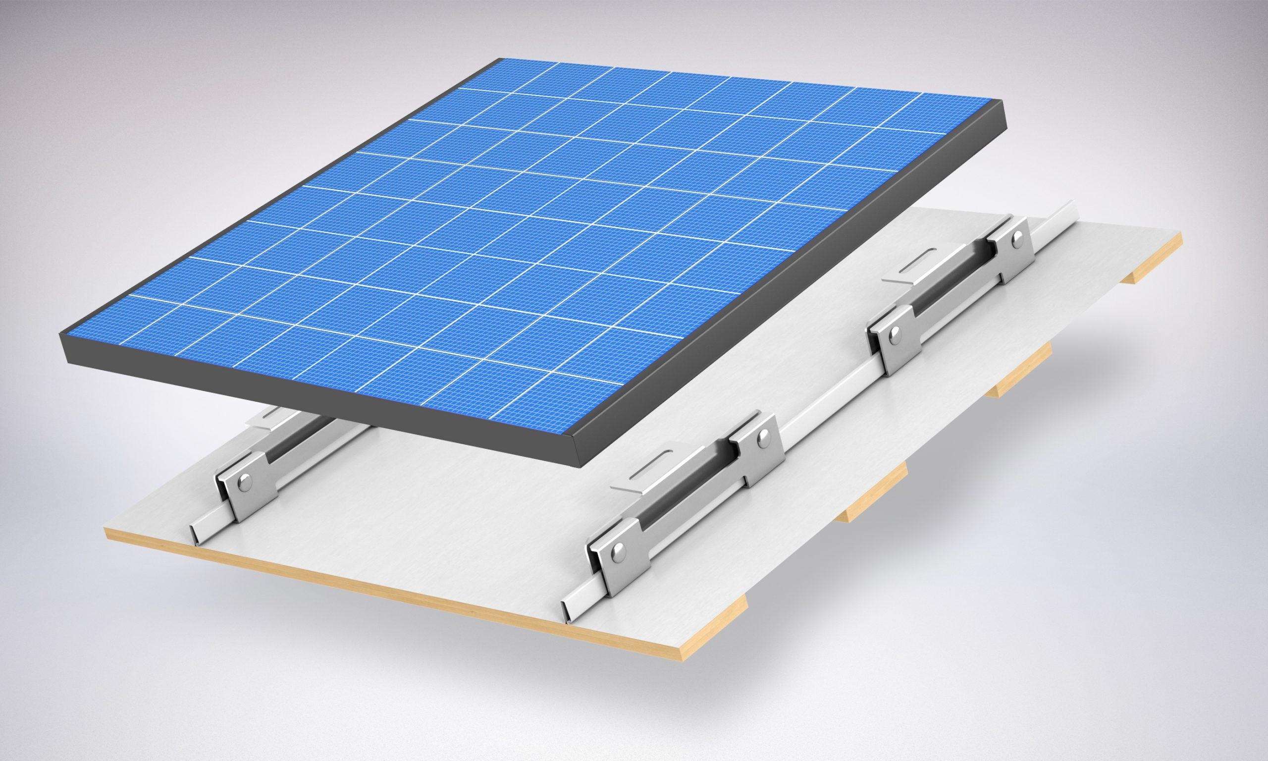 Wspornik do fotowoltaiki i solarów do blach panelowych na rąbek wysoki o wysokości zamka do 46mm. Łatwy i szybki montaż paneli solarnych i fotowoltaicznych na dachu.